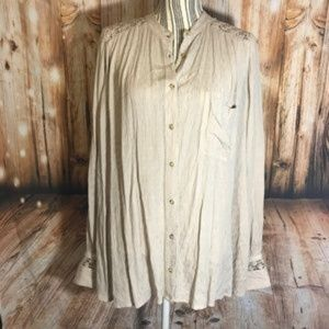 Free People Tan Crotchet Button Down Top SZ M